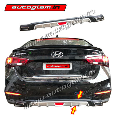 AGHVRD17, Hyundai Verna 2017+Rear Diffuser with Chrome Exhaust Tip