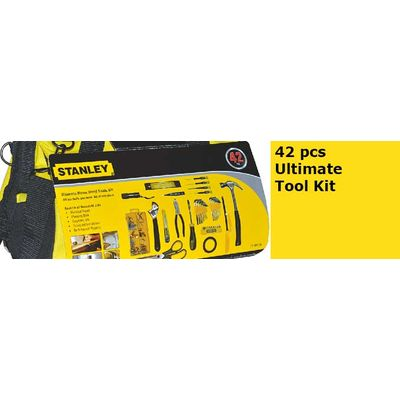STANLEY 42 pcs Ultimate Tool Kit, 8pcs Hex key Wrench with Holder:1/16?5/64?3/32?1/8?5/32?3/16?7/32?1/4 8pcs Hex key Wrench with Holder:1.5,2,2.5,3, 4,5,5.5,6mm 1pc 12ft Adhesive tape 1pc 12ft Adhesive tape 10pcs 25L BIT with Holder 4pcs Precision Screwdr