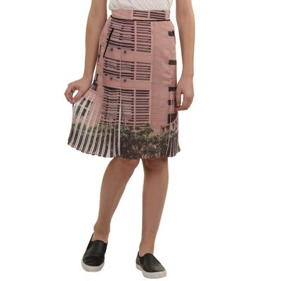 Landscape Print Flared Pleated Skirt