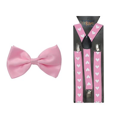 Brand New Awesome Hot Pink Bowtie /& Wide Pink Suspender Sets