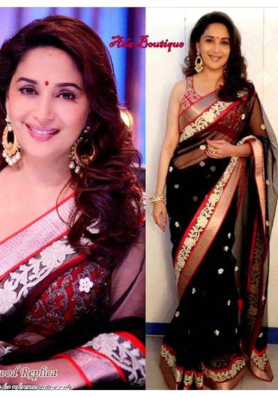 Madhuri Black /Red Saree