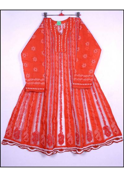Orange Lucknowi Kurti