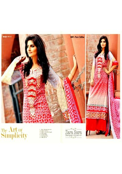 Red Embroided Pakistani Lawn