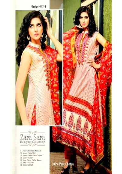 Orangish Embroided Pakistani Lawn