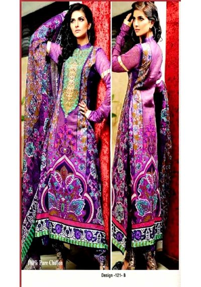 Purple Embroided Pakistani Lawn