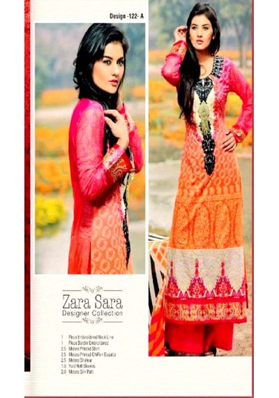 Pink /Orange Embroided Pakistani Lawn