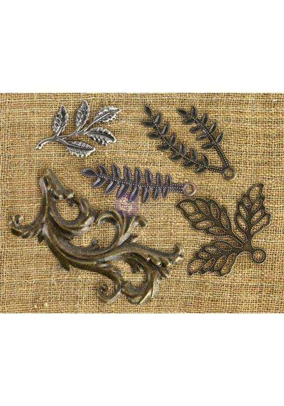 Leaves #1 5/Pkg - Mechanicals Metal Embellishments