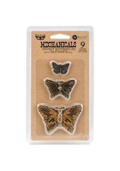 Grungy Butterflies 9/Pkg - Embellishments