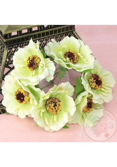 Curly Embossed Flower - Green