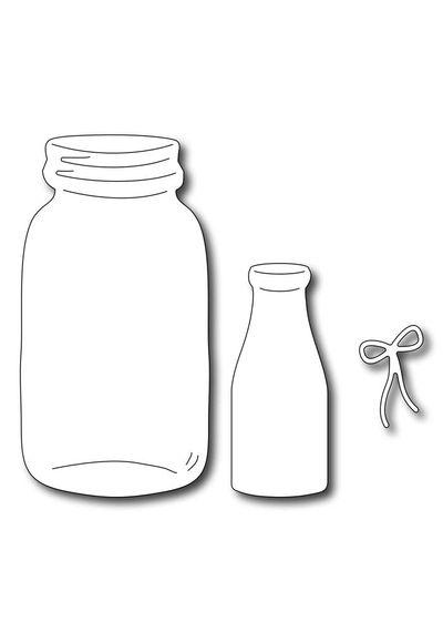 Milk Bottle & Mason Jar (set of 3 dies)