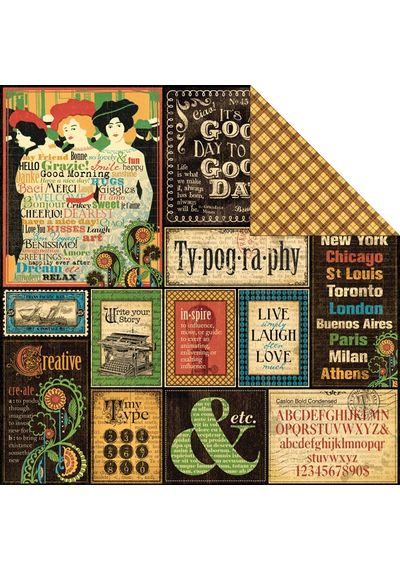 """Typography - Typography Double-Sided Cardstock 12""""X12"""""""