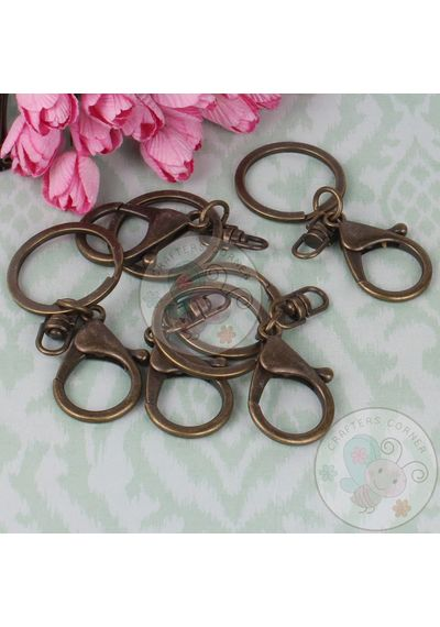 Key Ring with Clasp - Antique Bronze