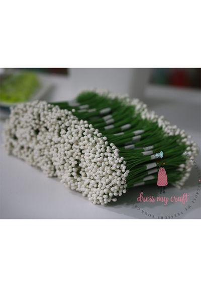 Drop Shape Wire Pollen #3 - White - Wholesale Pack