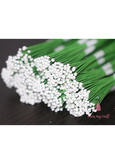 Drop Shape Wire Pollen #2 - White