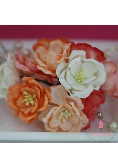 Poppy Rose - Peach and Orange