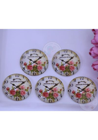 Small Round Glass Cabochon - Rose Clock