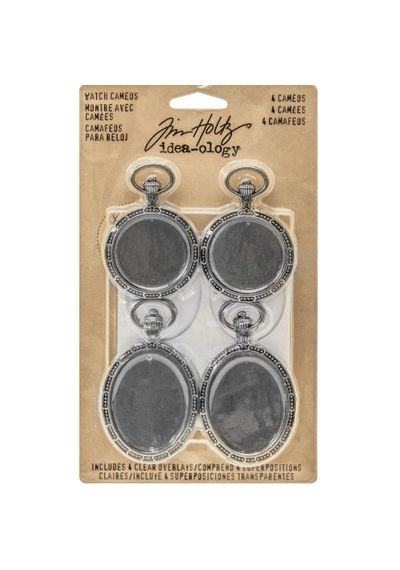 "Idea-Ology Metal Watch Cameos 1.25""X2"" & 1.5""X2.5"" 4/Pkg"