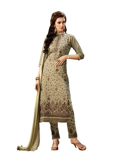 Pure Cotton Embroidered  Dress Material With Matching Dupatta
