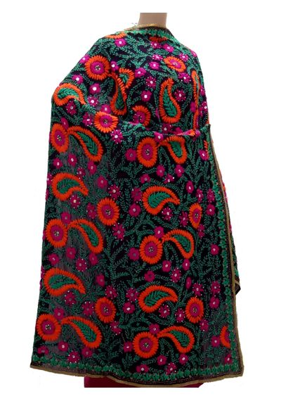 Super Georgette    Black Multi- Colour Dupatta