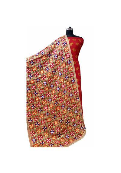 Phulkari Bagh Dupatta -  Red