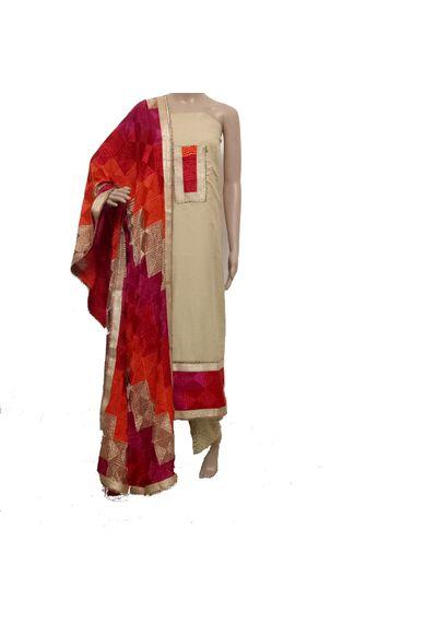 Cream- Phulkari Suit