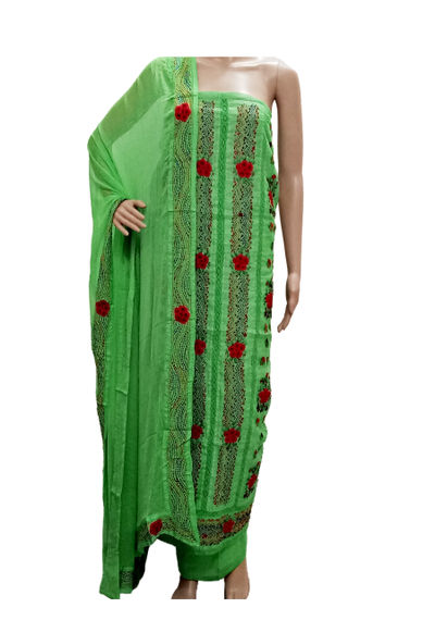 French Knot Embroidery Suits -  P Green