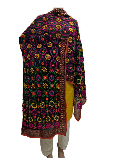 Multi Colour Georgette Phulkari Dupatta