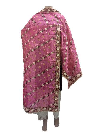 Pink Chanderi Dupatta with Handwork Emb.