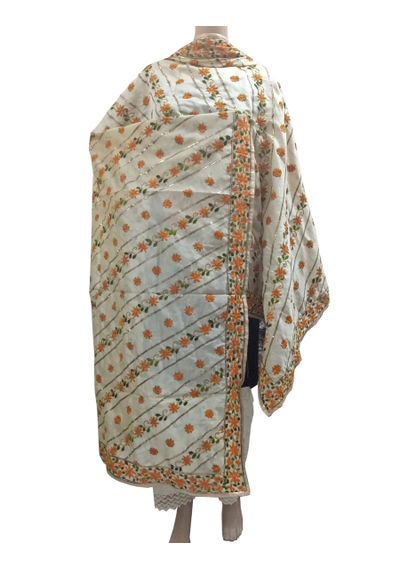 Beige Chanderi Dupatta with Handwork Emb. & Gotta Work