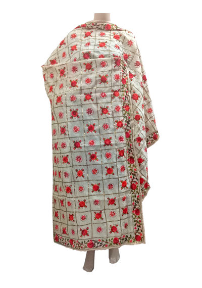 White Red Chanderi Dupatta with Handwork Emb. & Gotta Work