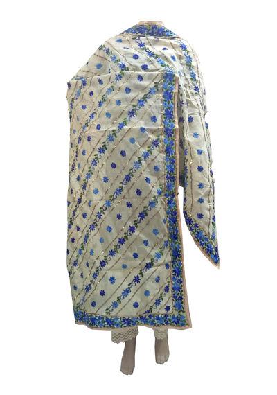 White Blue Chanderi Dupatta with Handwork Emb. & Gotta Work