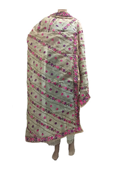 Cream Pink Chanderi Dupatta with Handwork Emb. & Gotta Work