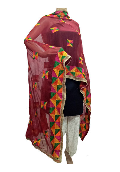 Brown Phulkari Dupatta