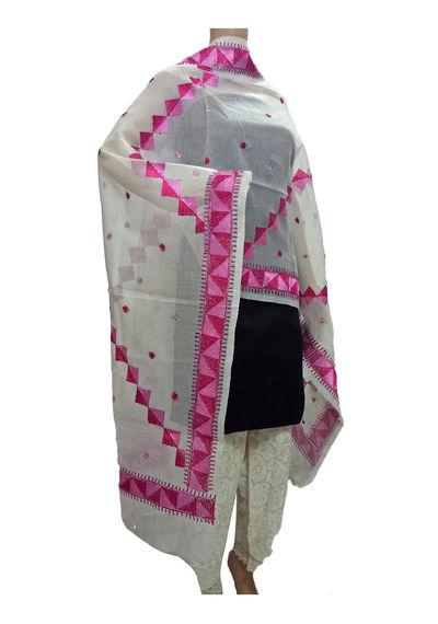 White Kota Silk Phulkari Handicraft Dupatta