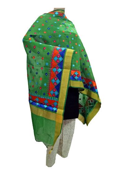 Green Banarsi Silk Handicraft Phulkari Dupatta