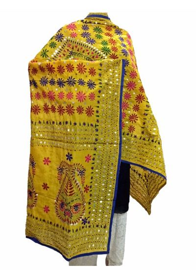 Yellow Handicraft Kantha Dupatta