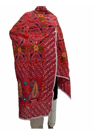 Red Handicraft Kantha Dupatta