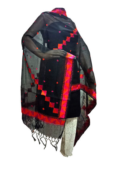 Black Kota Silk Handicraft Dupatta