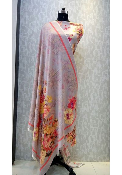 Beige Colour - Floral Print Pure Chinon Fabric Suits