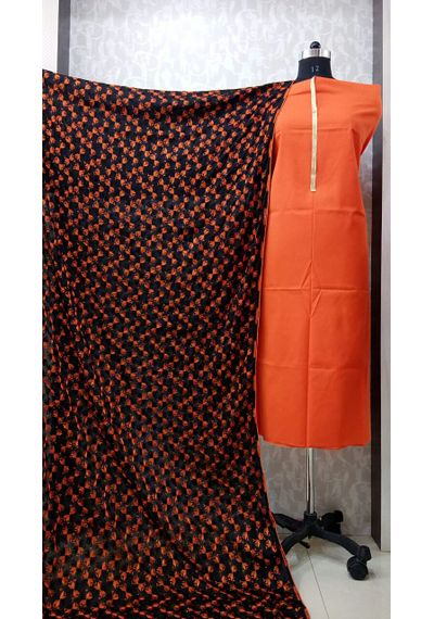 Black Orange - Phulkari Chinnon Dupatta
