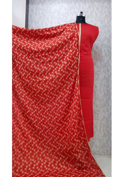 Red - Phulkari Chinnon Dupatta