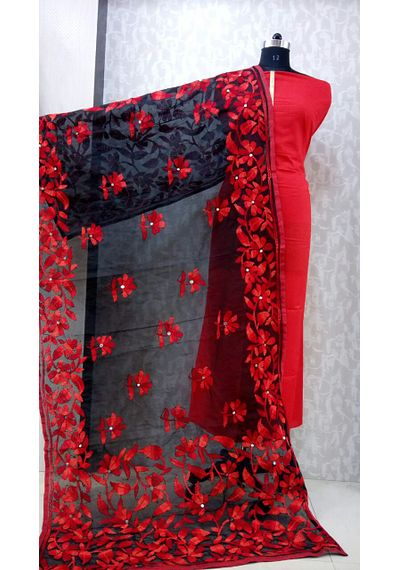 Red Black - Phulkari Dupatta