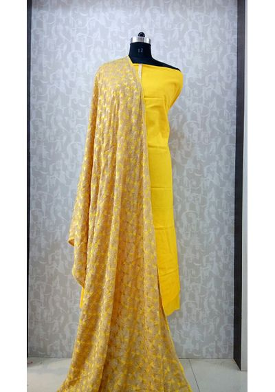 Yellow - Phulkari Chinnon Dupatta