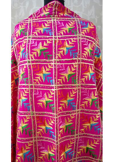 Pink - Pure Chinnon Phulkari Hand- Craft Dupatta  with Highlighted Border