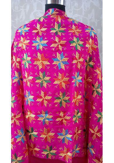 Pink -Pure Chinnon Phulkari Hand- Craft Dupatta