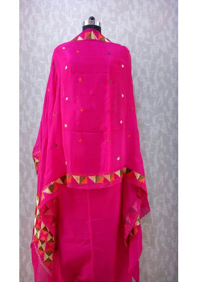 Pure Chinnon Phulkari Hand- Craft Dupatta