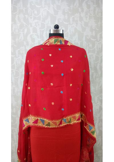 Red - Pure Chinnon Phulkari Hand- Craft Dupatta