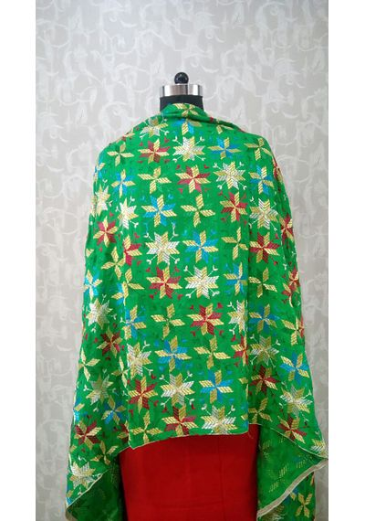 Green- Pure Chinnon Phulkari Hand- Craft Dupatta