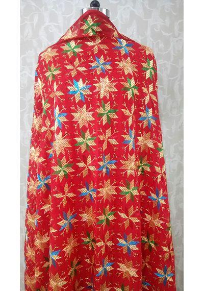 Marron - Pure Chinnon Phulkari Hand- Craft Dupatta