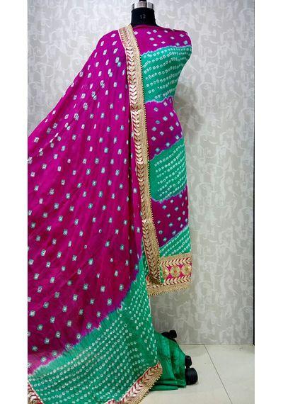 Green Majenta -Jaipuri Bandhani Suits